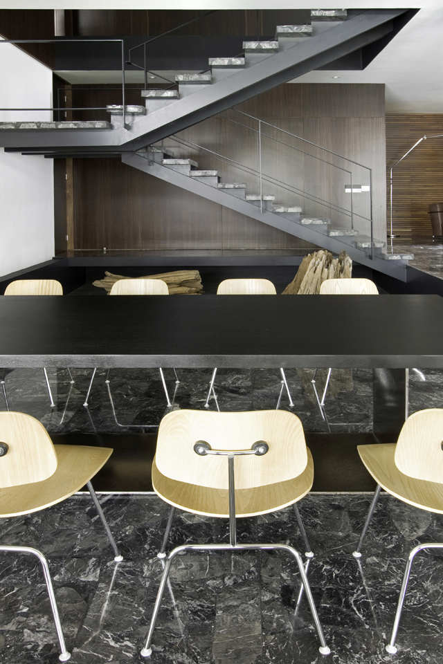 Dining Table, Marble Tiles, Stairs, Home Renovation in Guadalajara, Mexico