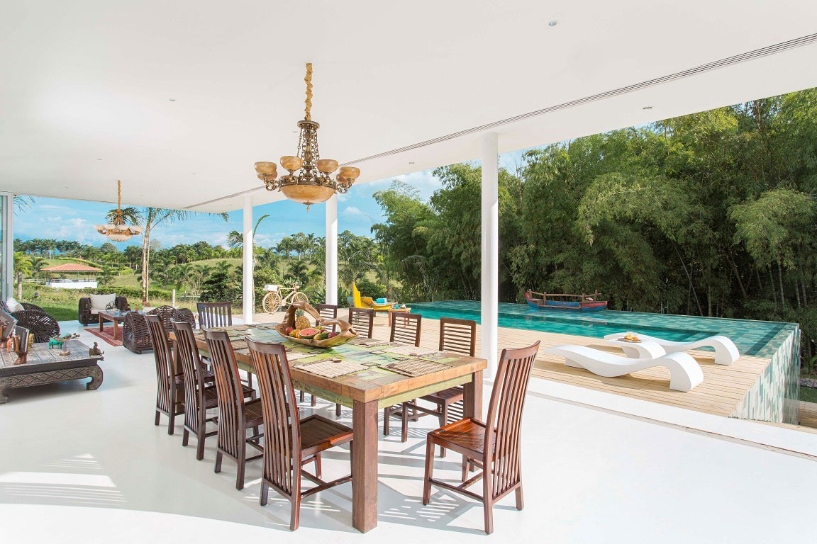Dining Table Open Plan Living Pool Terrace Family Home In Pereira Colombia