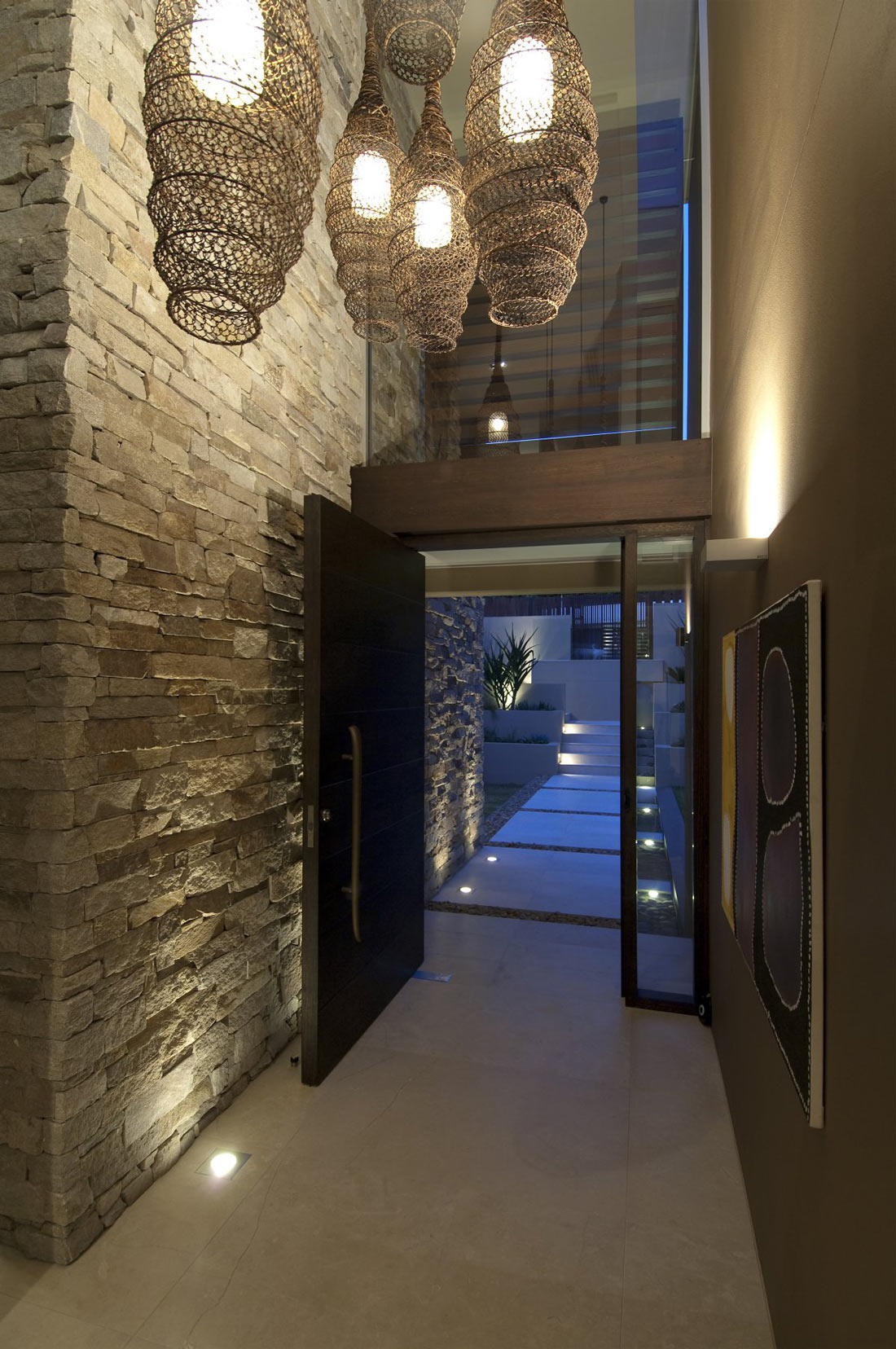 Foyer Stone Design : Entrance hall stone wall lighting waterfront home in