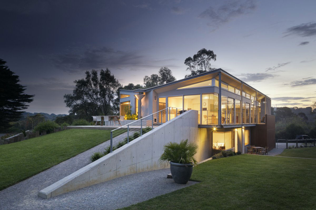 Evening, Lighting, Sailing Inspired House in Victoria, Australia