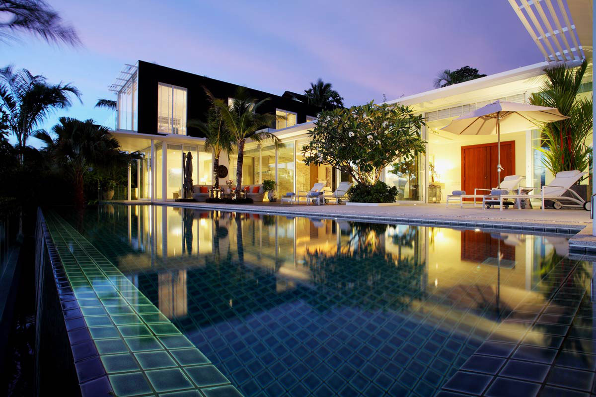 Evening, Pool, Lighting, Oceanfront Villa in Phuket, Thailand