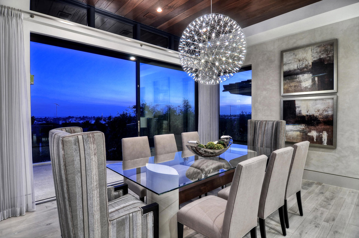 Glass Dining Table, Lighting, Dining Room, Home in Corona del Mar, California