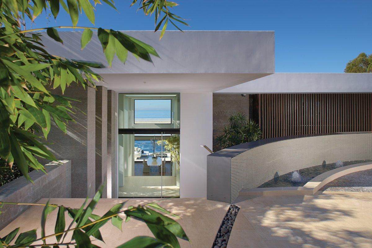 Glass Entrance, Water Feature, Beach House in Laguna Beach, California