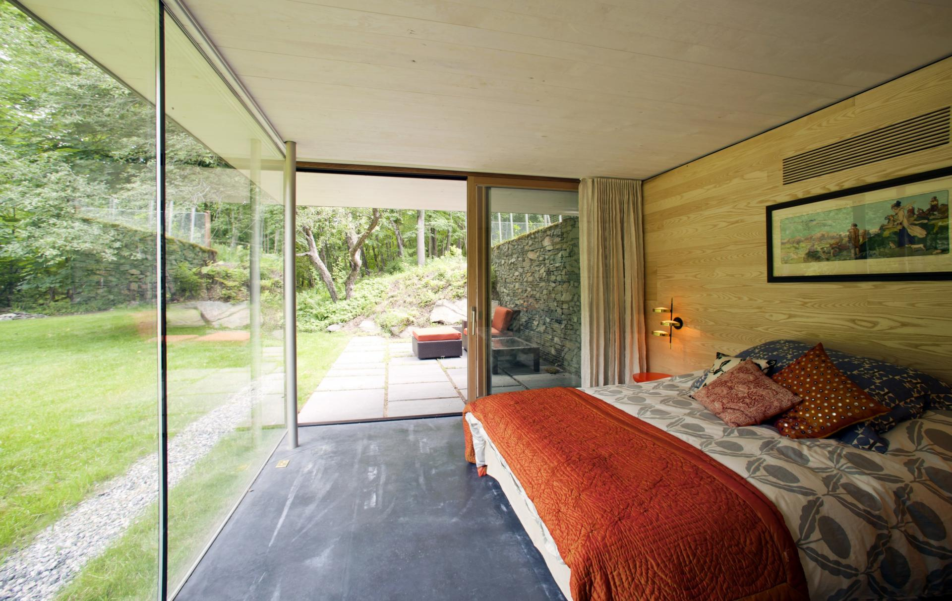 Glass Wall, Bedroom, Rural Retreat in Bantam, Connecticut