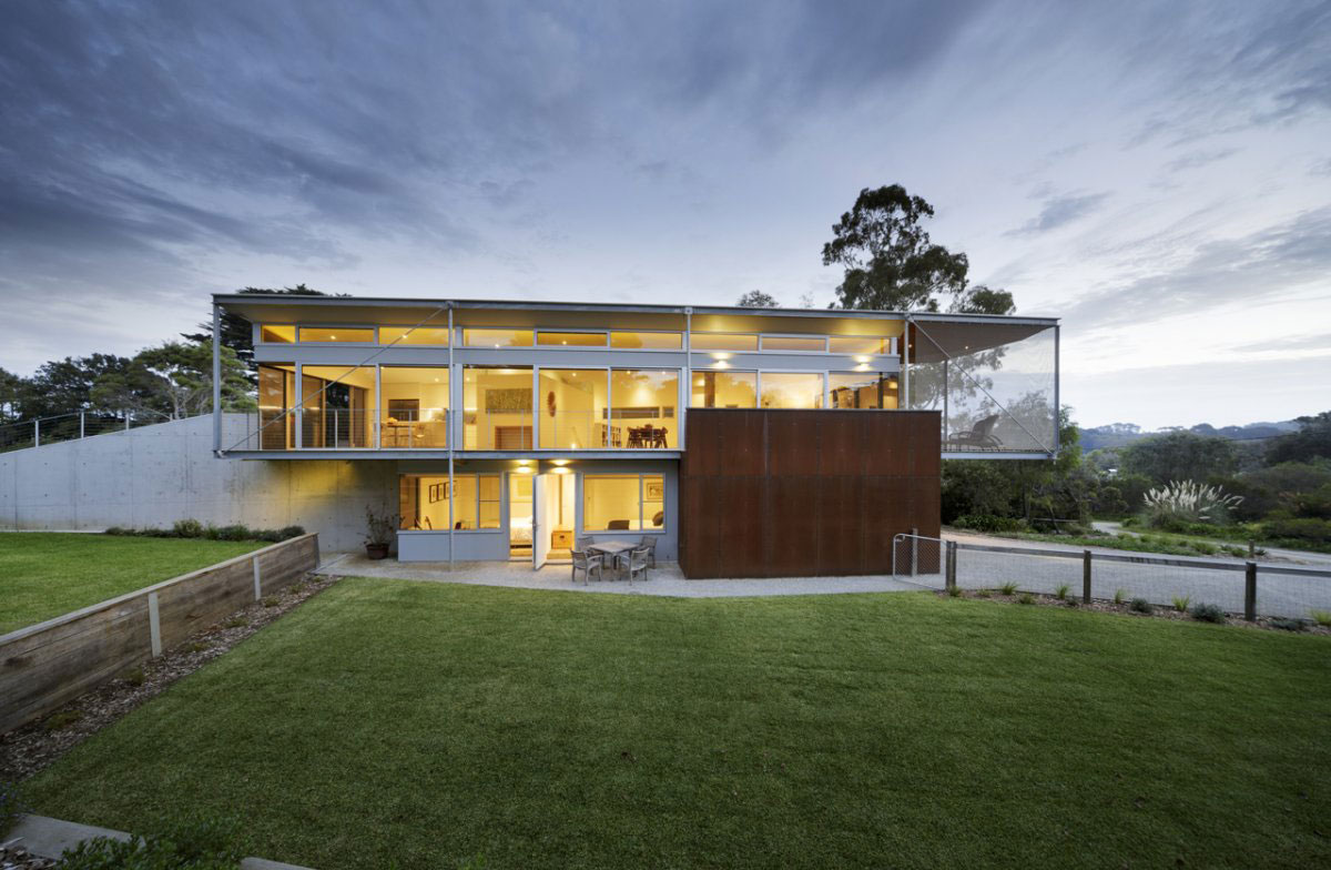 Lawn, Terrace, Glass Walls, Sailing Inspired House in Victoria, Australia