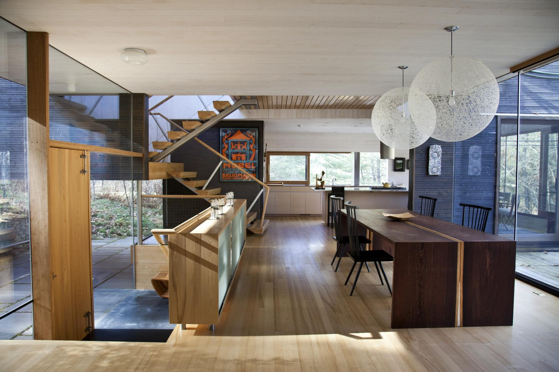 Lighting, Dining Table, Stairs, Glass Walls, Rural Retreat in Bantam, Connecticut
