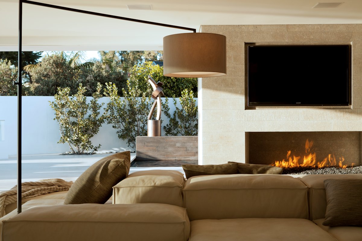 Lighting, Fireplace, Sofa, Beach House in Laguna Beach, California