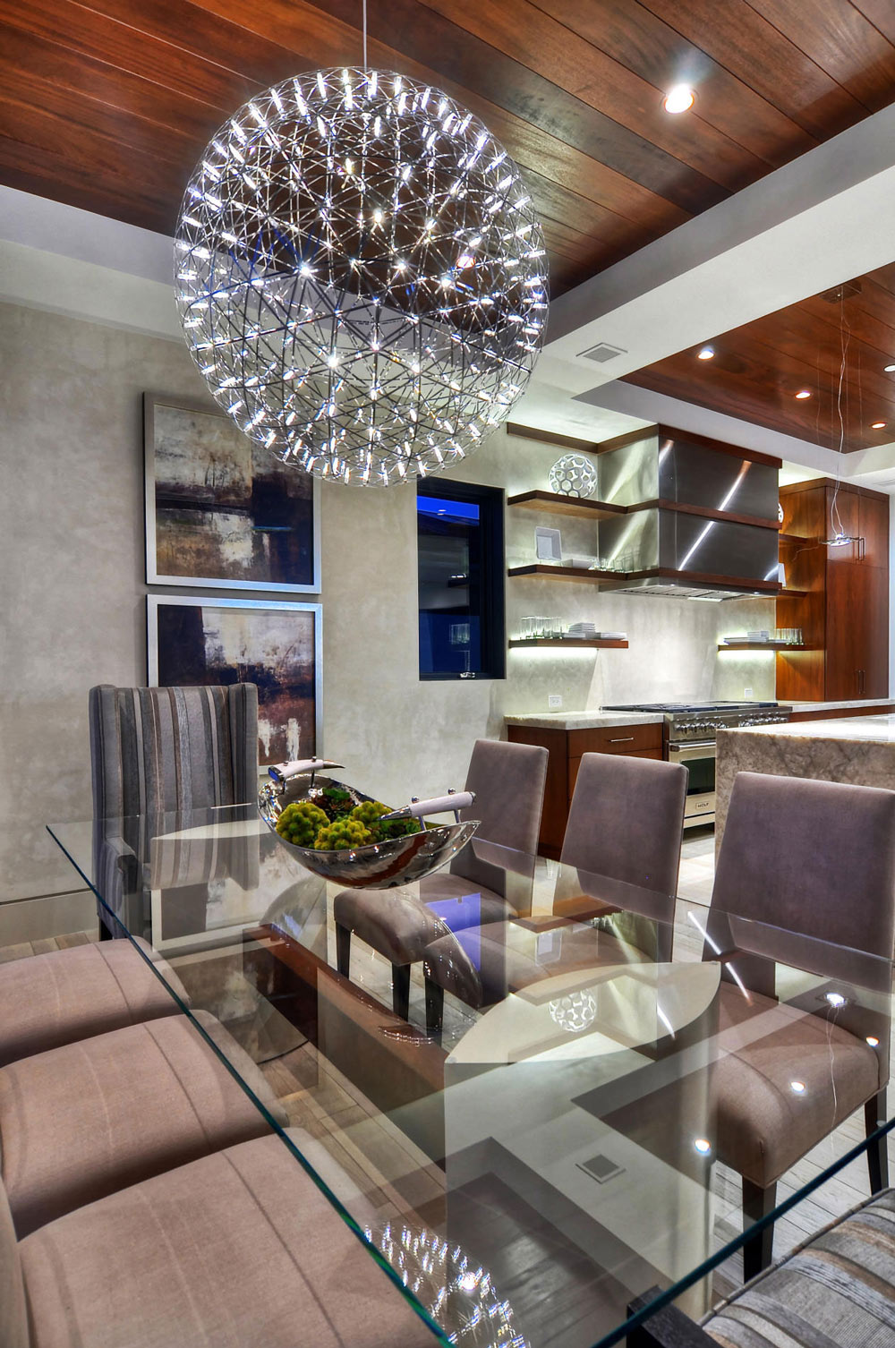 Lighting, Glass Dining Table, Chairs, Home in Corona del Mar, California