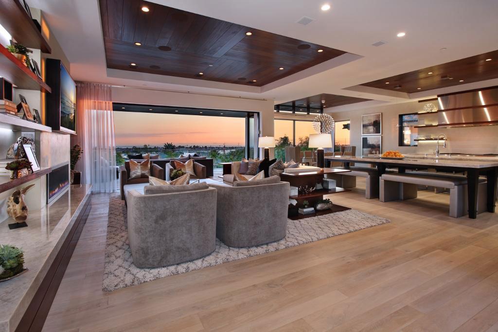 Living, Kitchen Space, Home in Corona del Mar, California