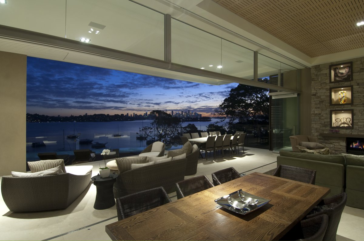 Living Room, Terrace, Bay Views, Waterfront Home in Vaucluse, Sydney