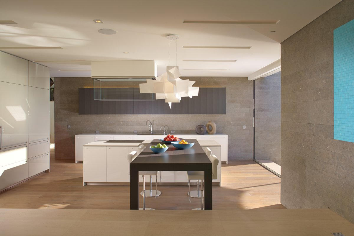 Modern Kitchen, Breakfast Table, Lighting, Beach House in Laguna Beach, California