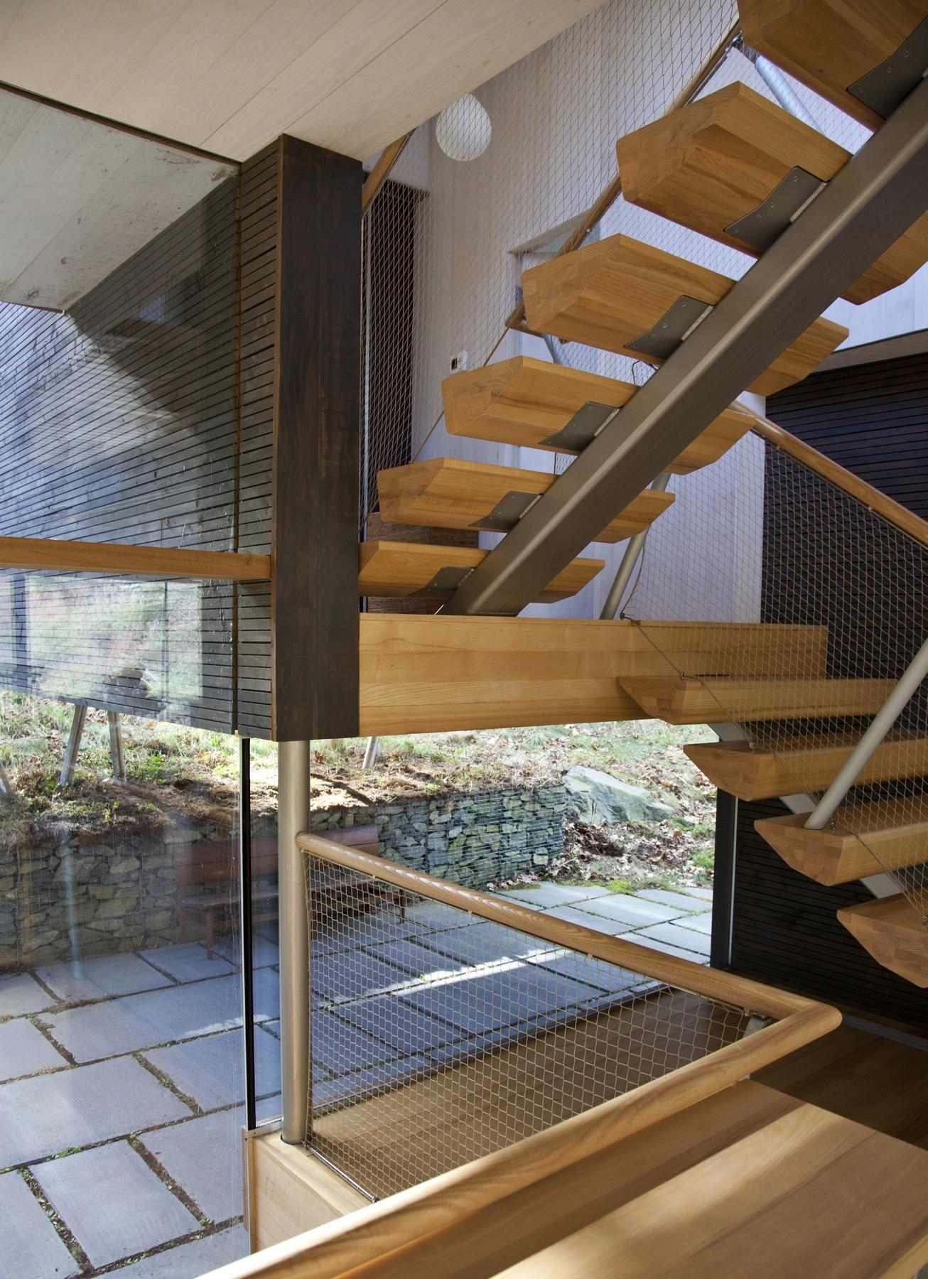 Modern Wood & Metal Stairs, Rural Retreat in Bantam, Connecticut