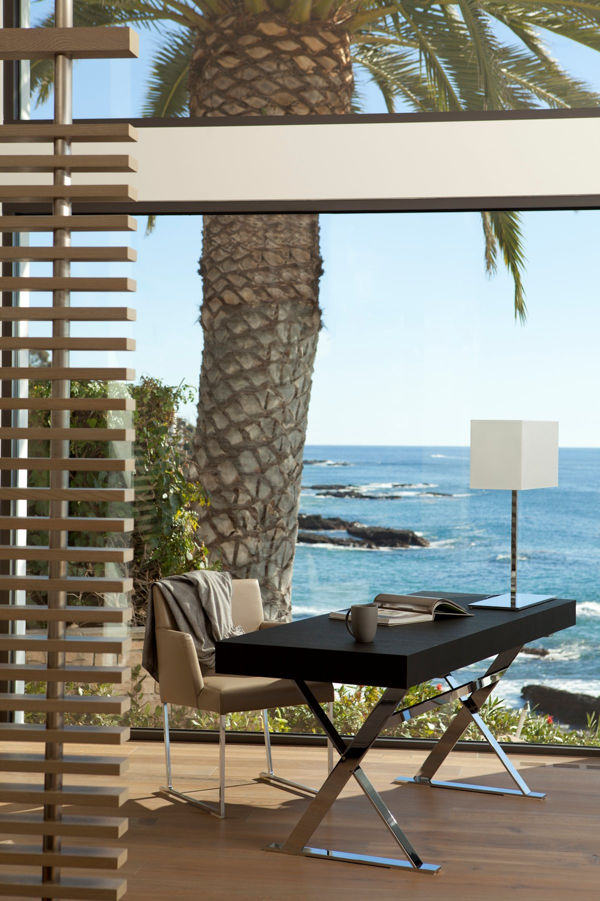 Office Table, Ocean Views, Beach House in Laguna Beach, California