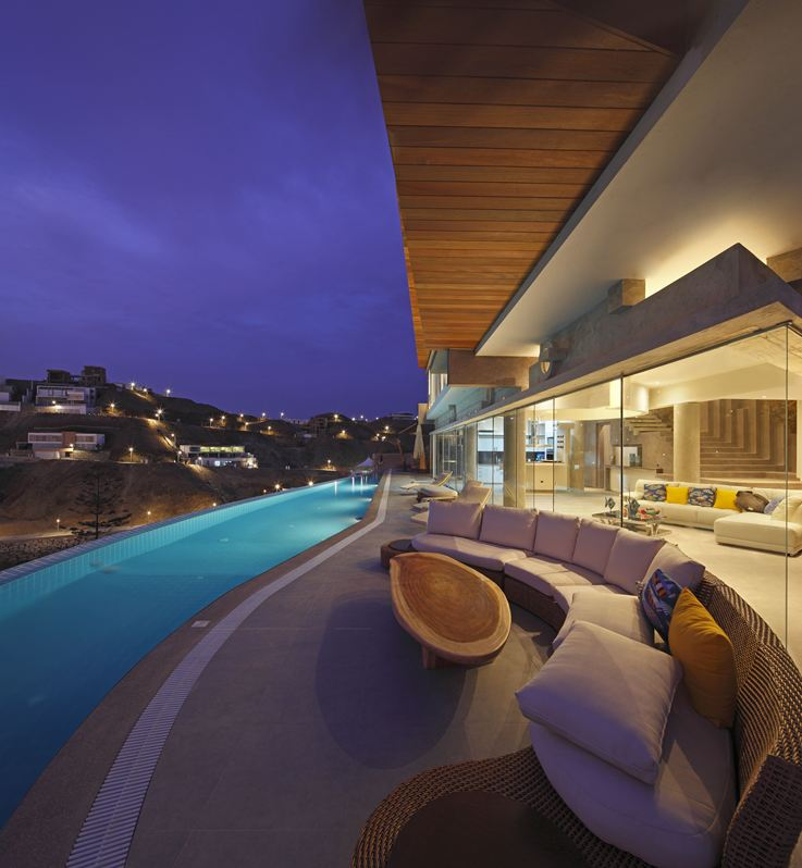 Outdoor Furniture, Wooden Table, Beach House in Lima, Peru