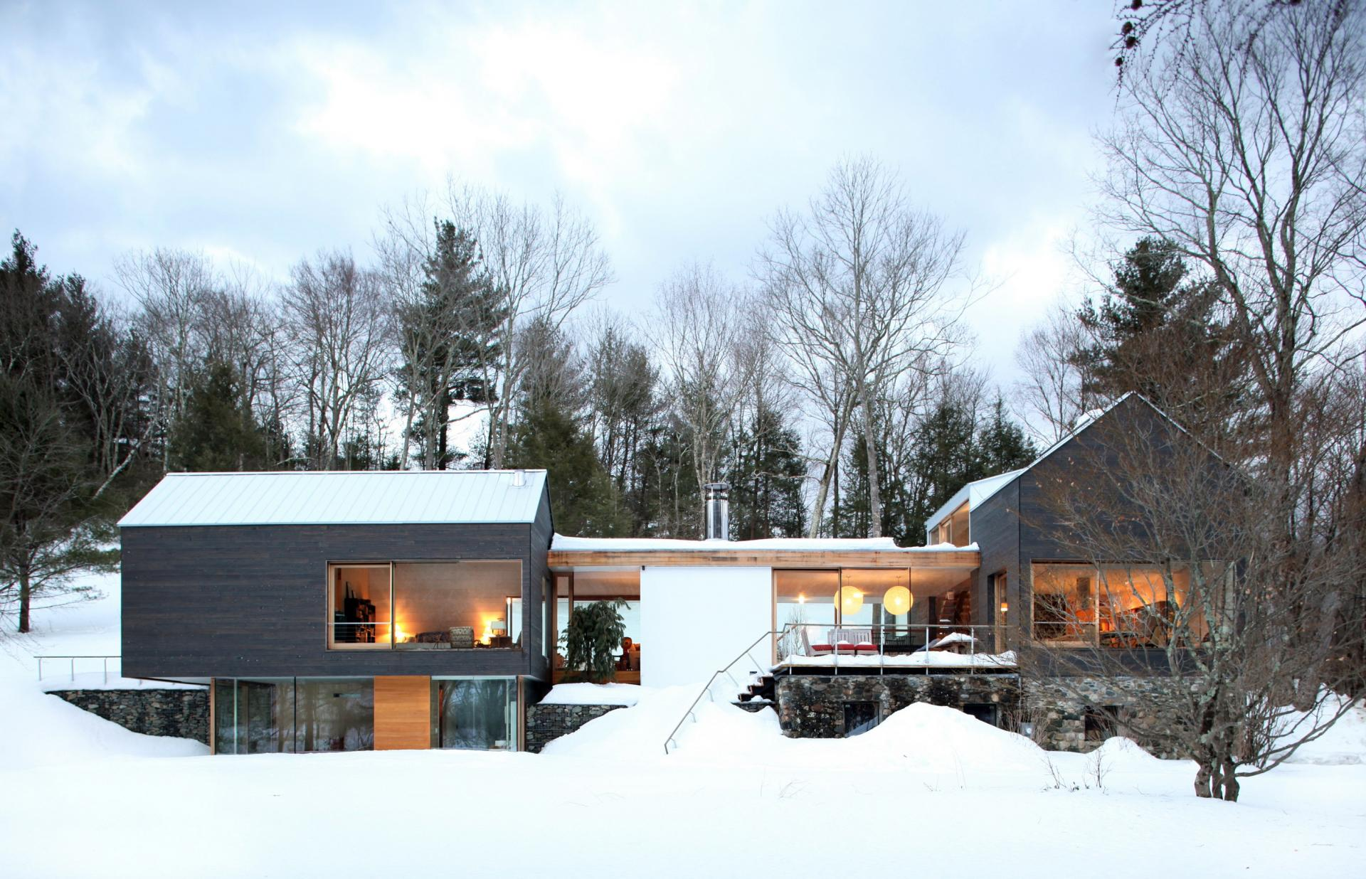 Snow, Lighting, Rural Retreat in Bantam, Connecticut