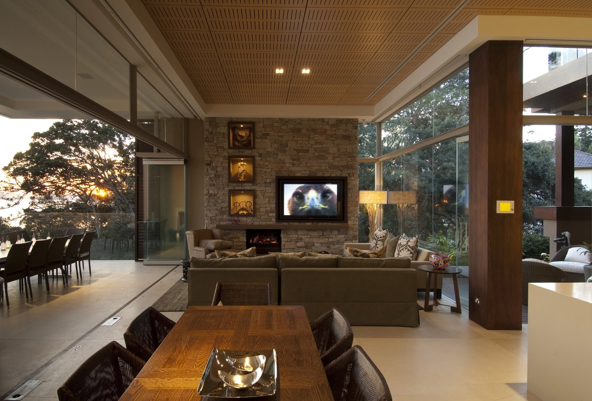 Sofa, Dining Table, Open Plan Living, Waterfront Home in Vaucluse, Sydney