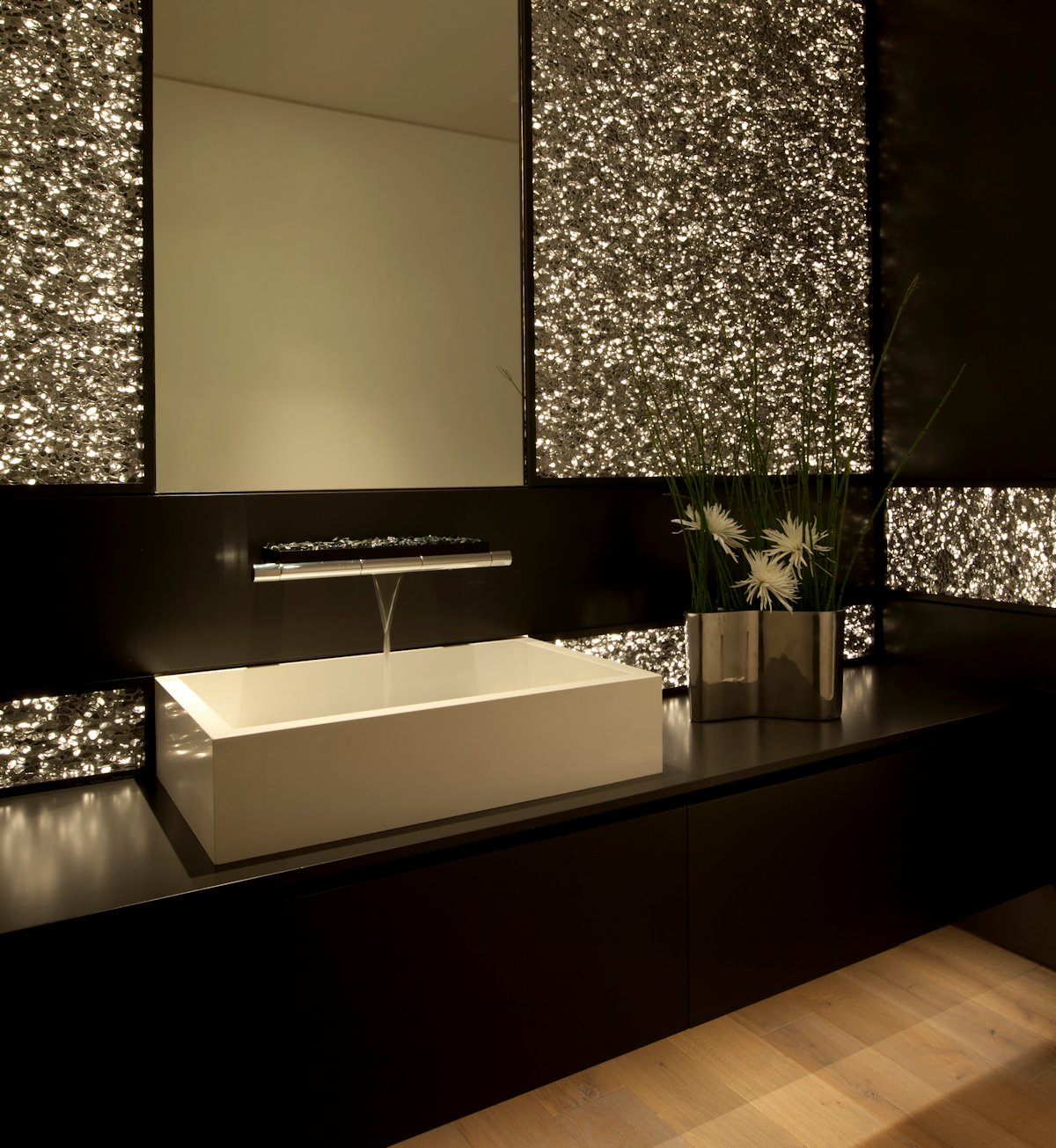 Sparkly Bathroom, Sink, Beach House in Laguna Beach, California