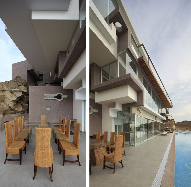 Dining Table, Terrace, Pool, Beach House in Lima, Peru