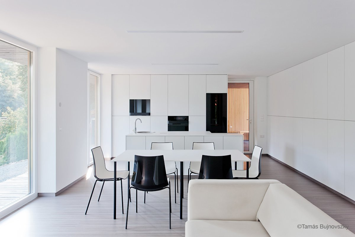 White Kitchen, Dining Table, Holiday Cabin in Koszeg, Hungary