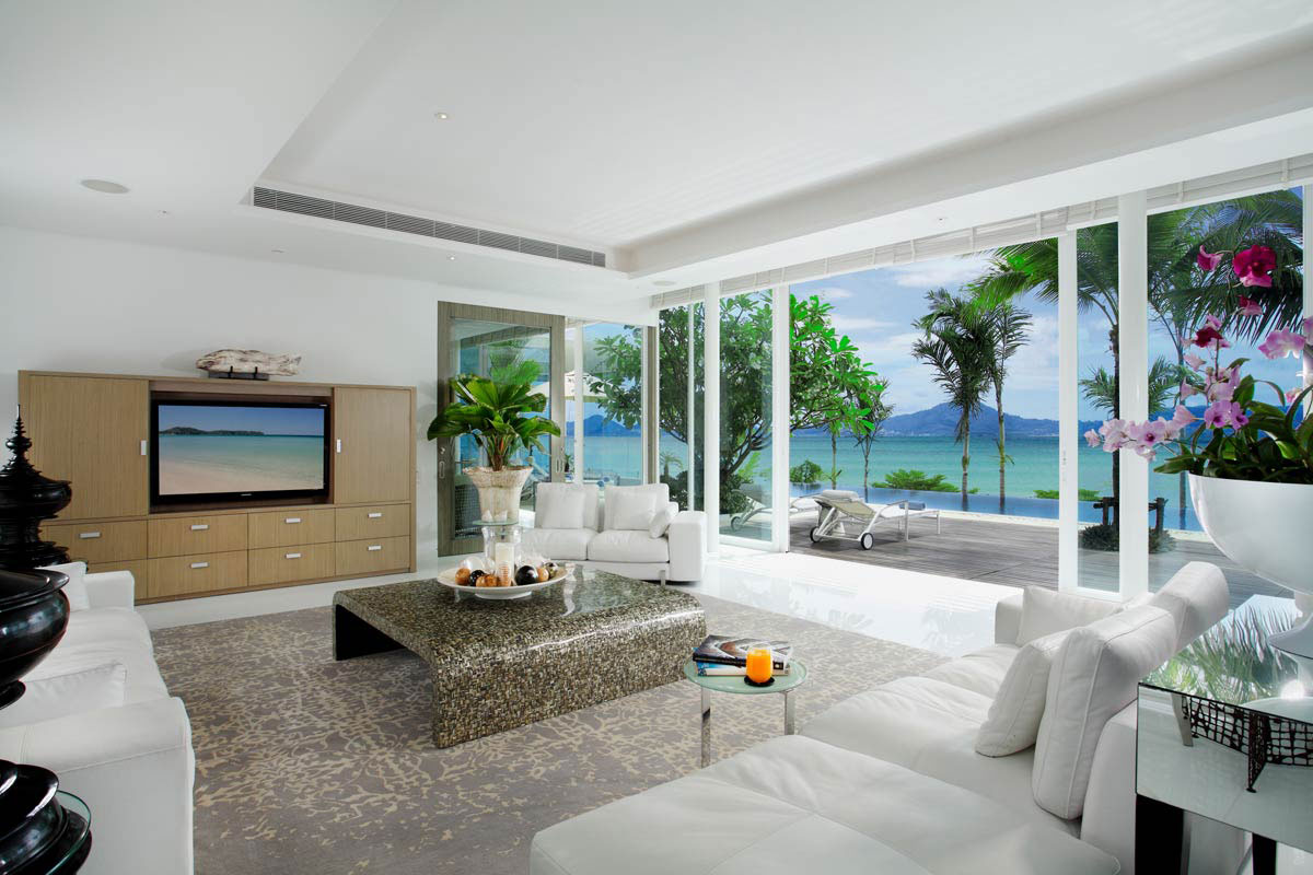 White Sofas, Rug, Glass Sliding Doors, Oceanfront Villa in Phuket, Thailand
