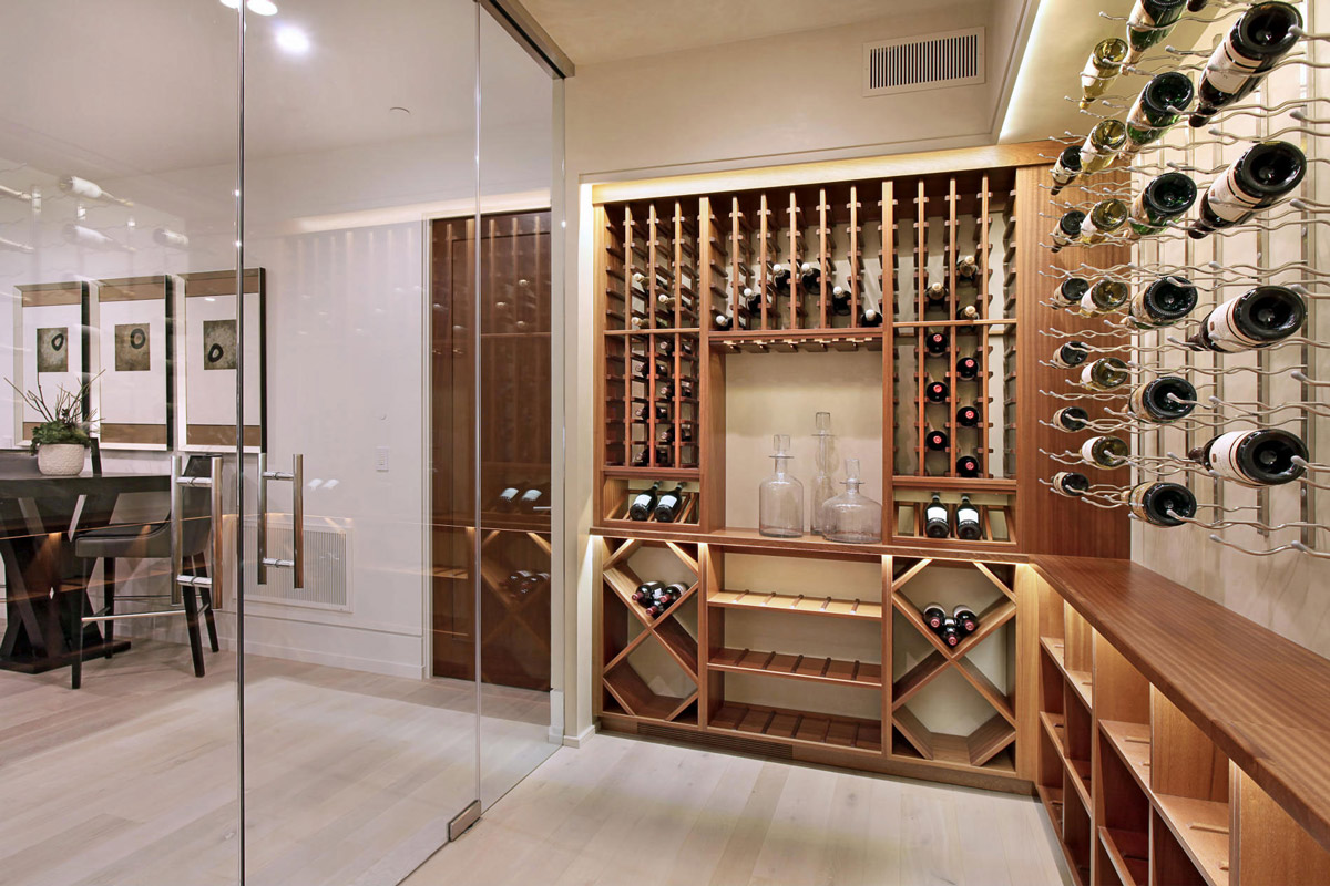 wine room glass doors home in corona del mar california