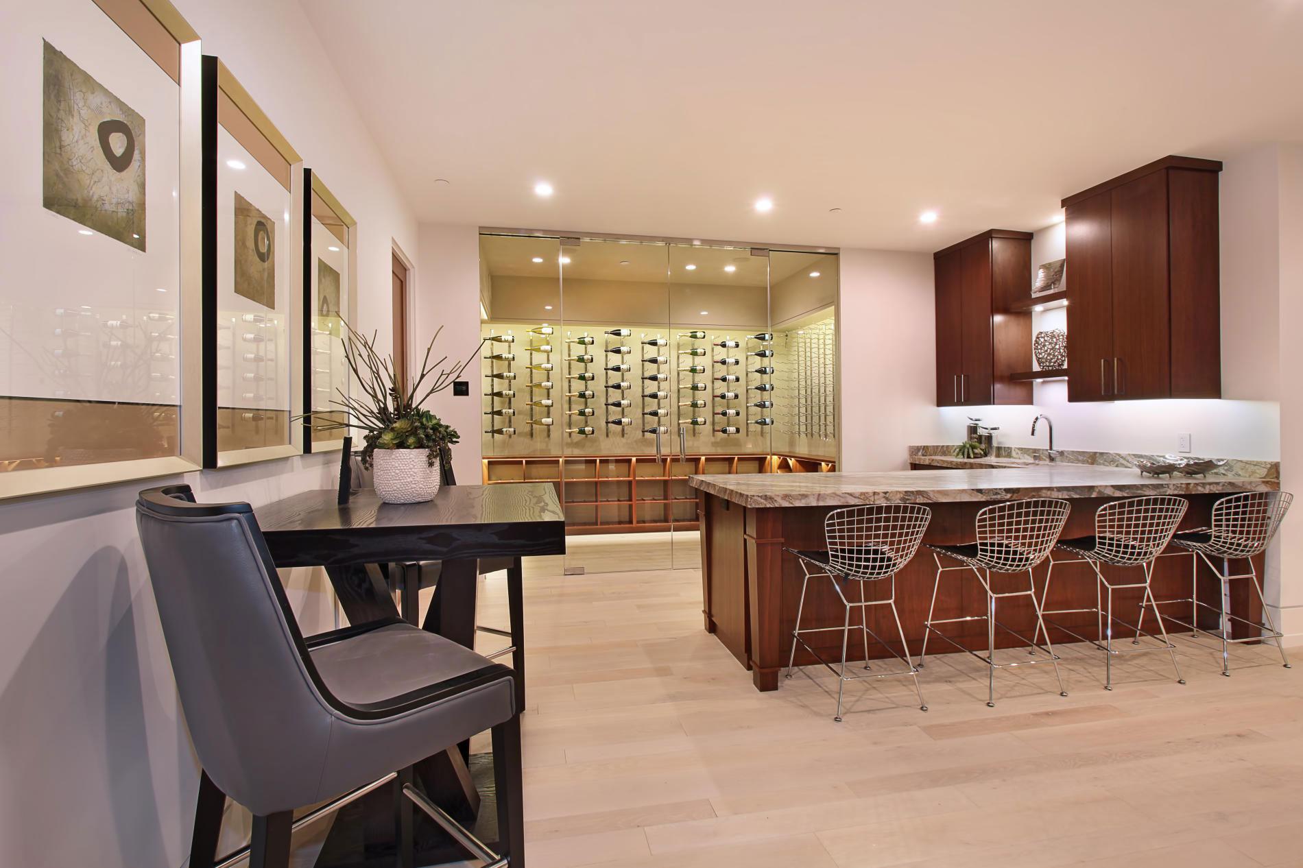Wine Room, Kitchen Tables, Home in Corona del Mar, California