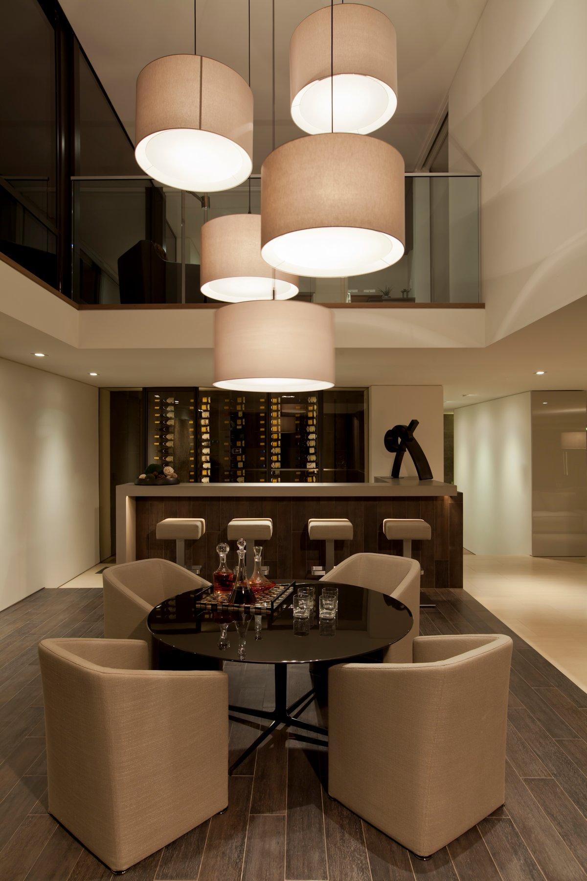 Wine Room, Lighting, Table, Beach House in Laguna Beach, California