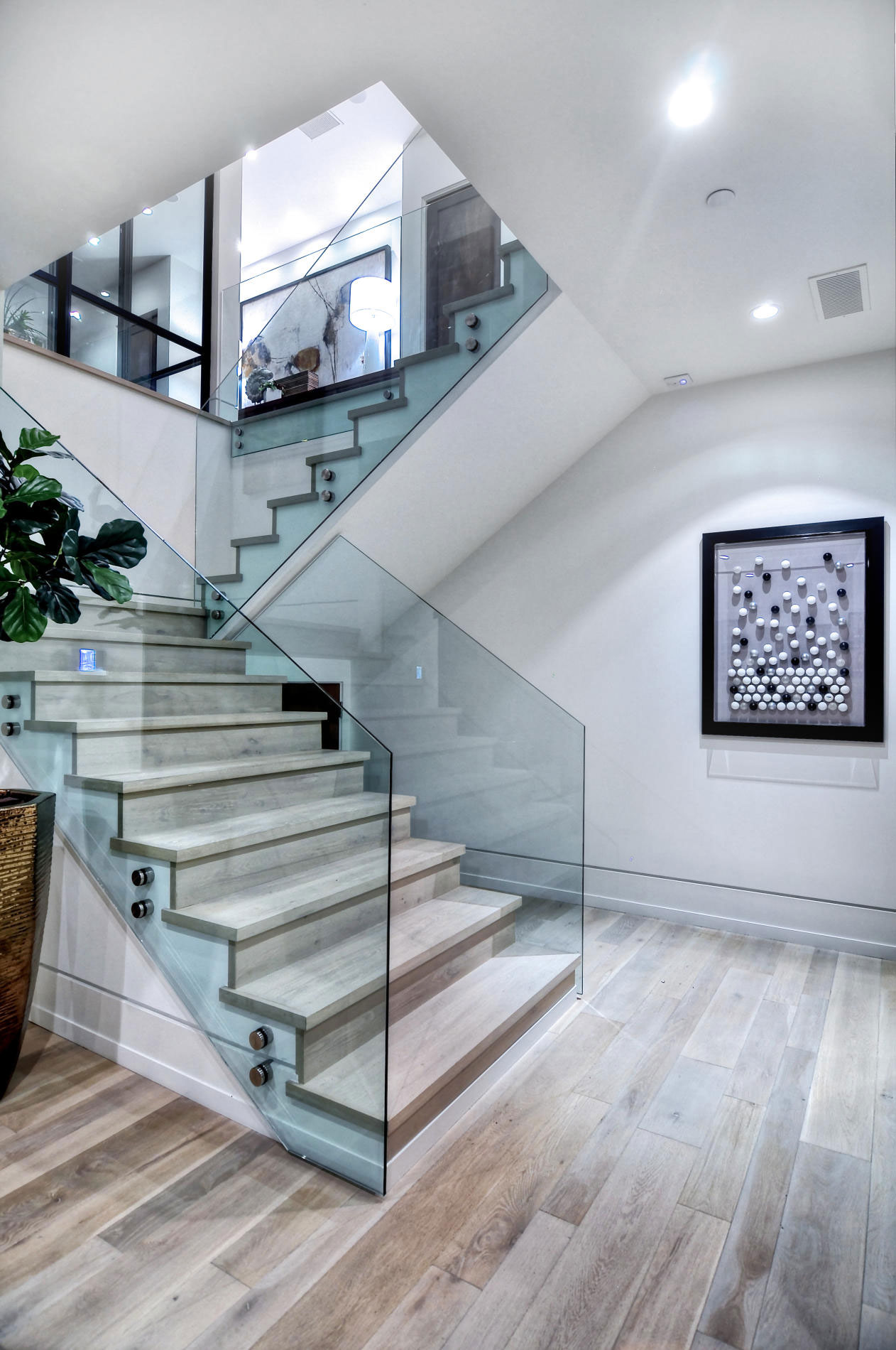 Wood, Glass Stairs, Home in Corona del Mar, California