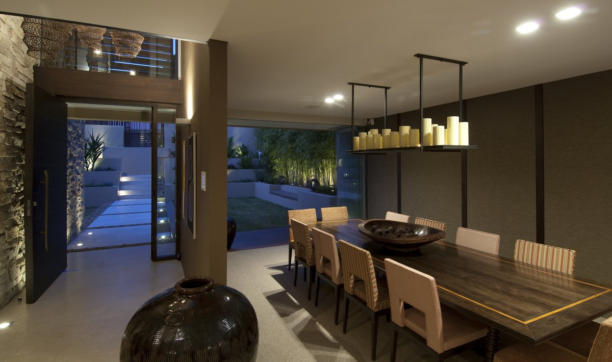 Wooden Dining Table, Glass Wall, Waterfront Home in Vaucluse, Sydney