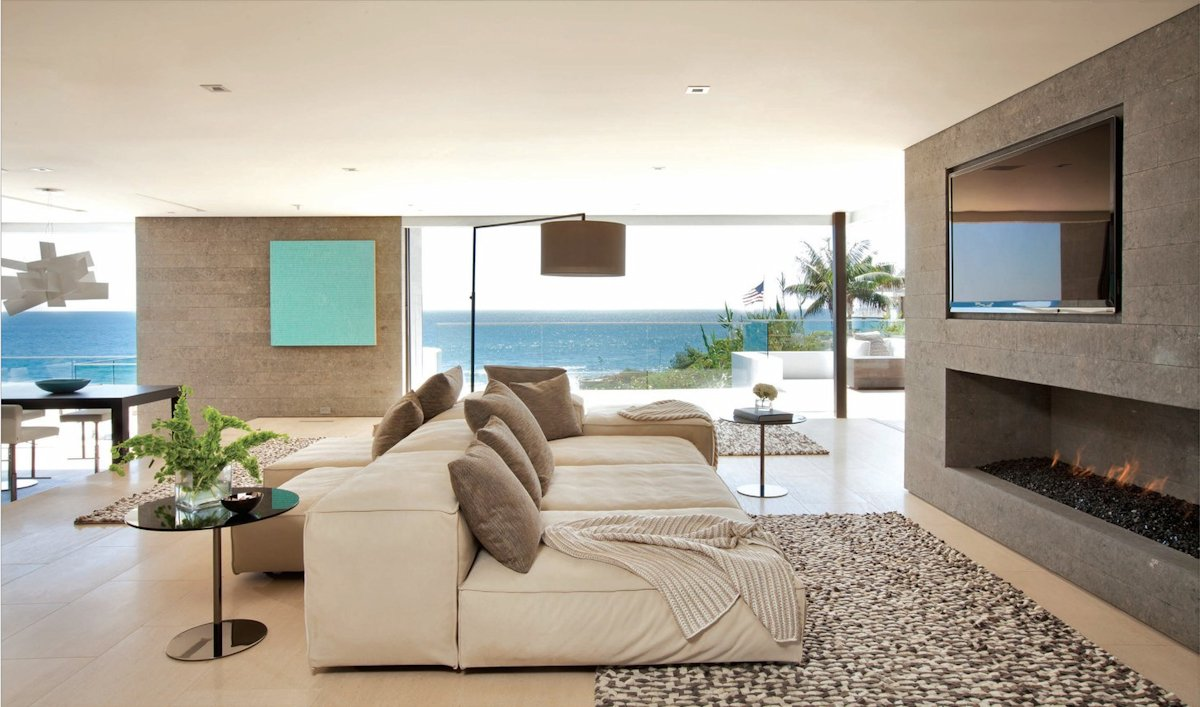 Contemporary Fireplace, Sofa, Rug, Beach House in Laguna Beach, California