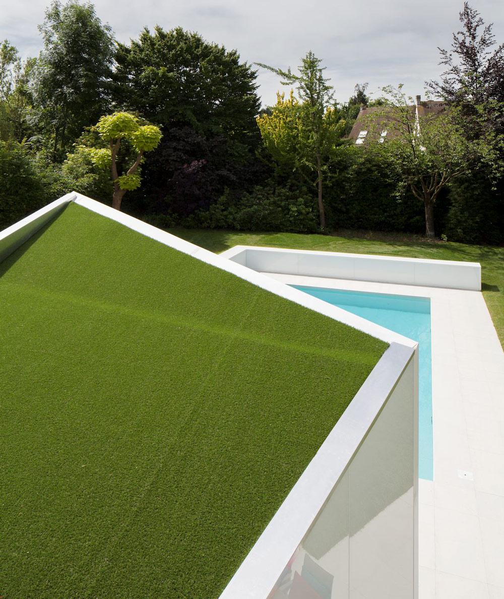 Artificial Grass Roof, Contemporary Renovation Brussels Belgium