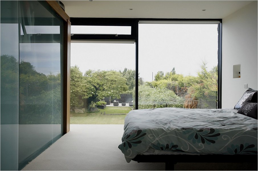Bedroom, Glass Wall, Barn Conversion on the Island of Guernsey
