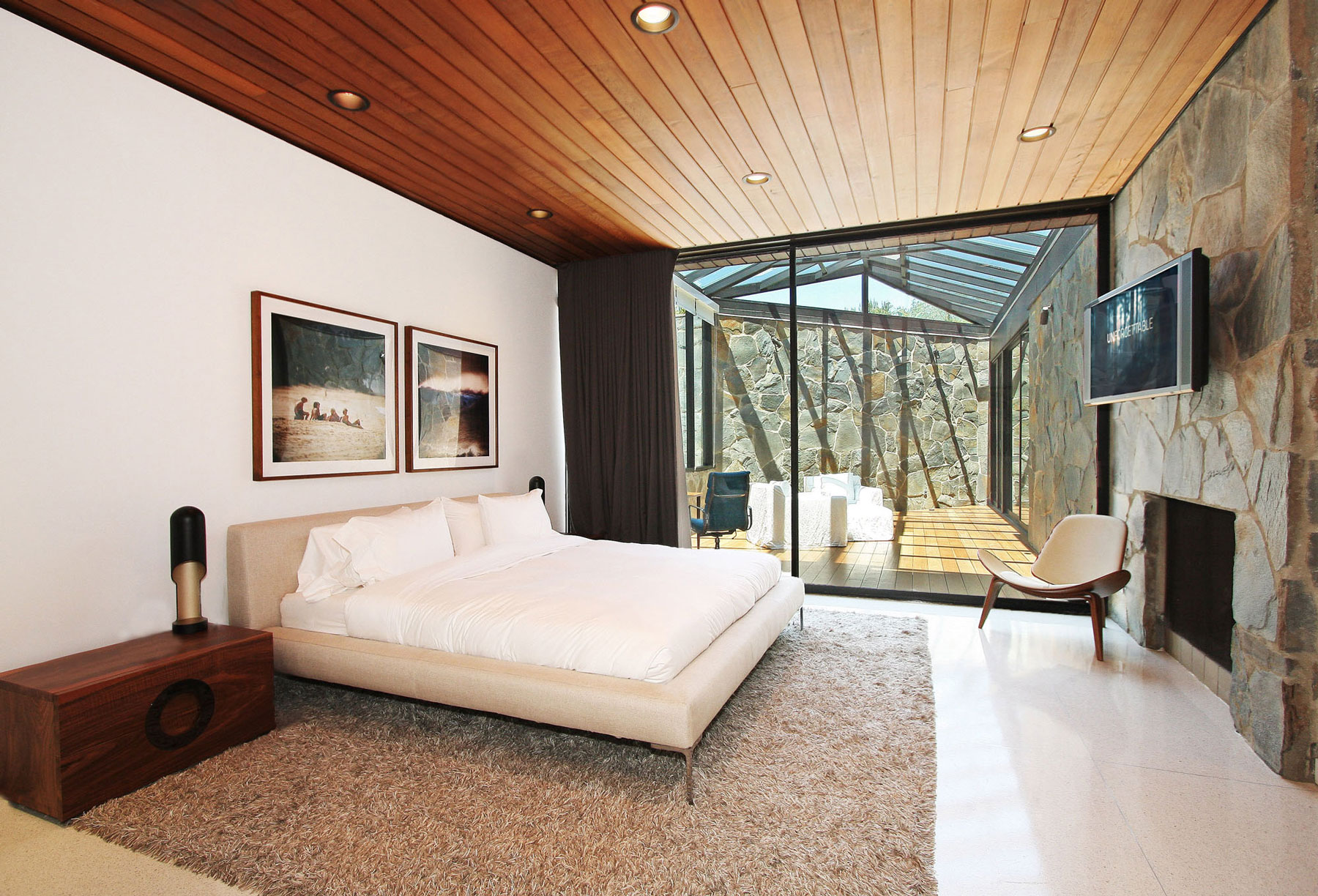 Bedroom, Rug, Patio Doors, Revamped Interior in Beverly Hills