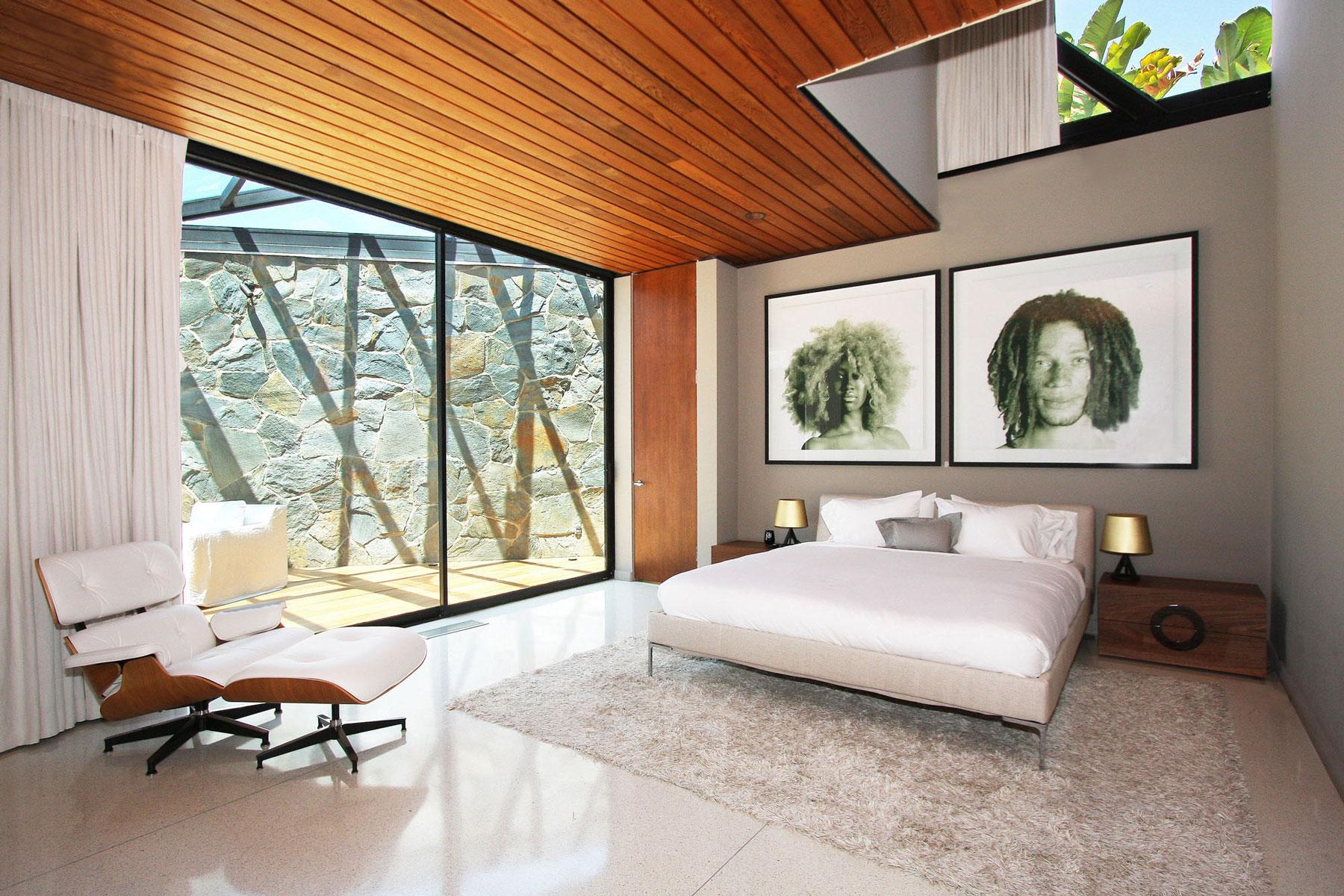 Bedroom, Sky Window, Patio Doors, Rug, Revamped Interior in Beverly Hills