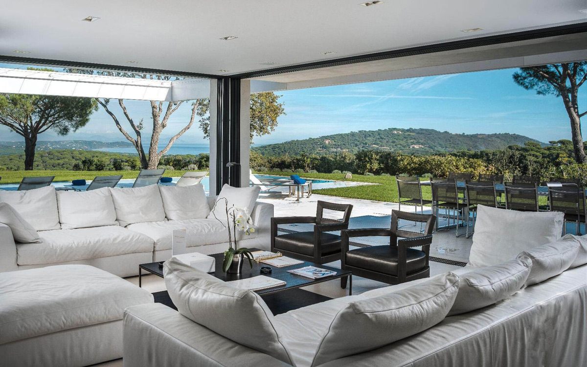 Coffee Table, Sofas, Living Space, Views, Luxury Holiday Villa in Saint-Tropez, France