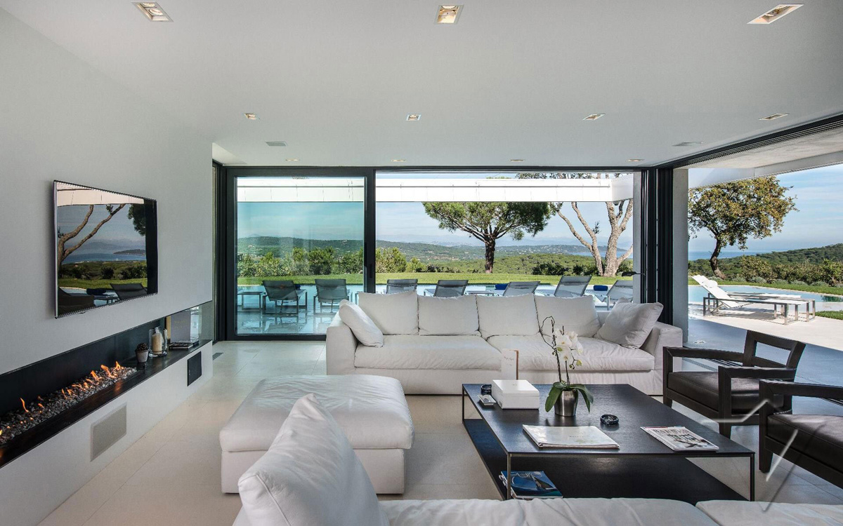 Contemporary Fireplace, Sofas, Glass Sliding Doors, Luxury Holiday Villa in Saint-Tropez, France