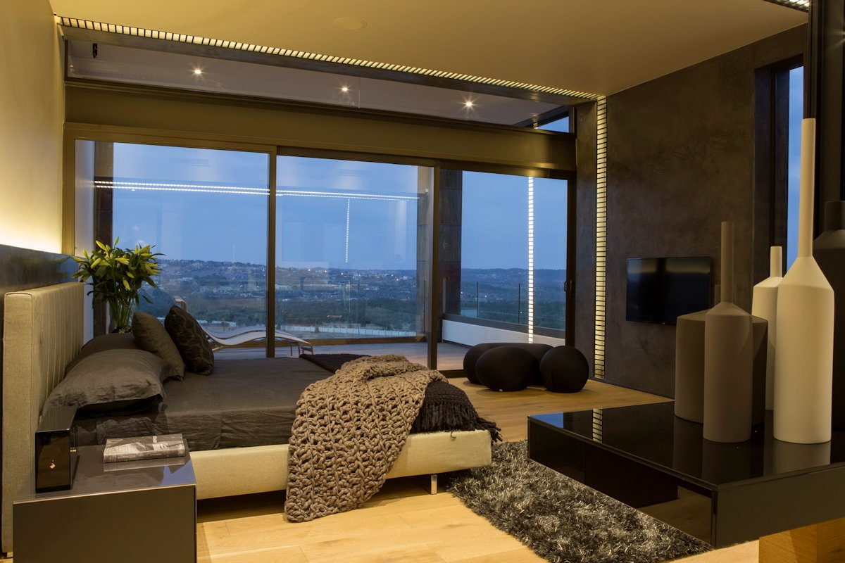 Dark Bedroom, Rug, Balcony, Modern Residence in Pretoria, South Africa
