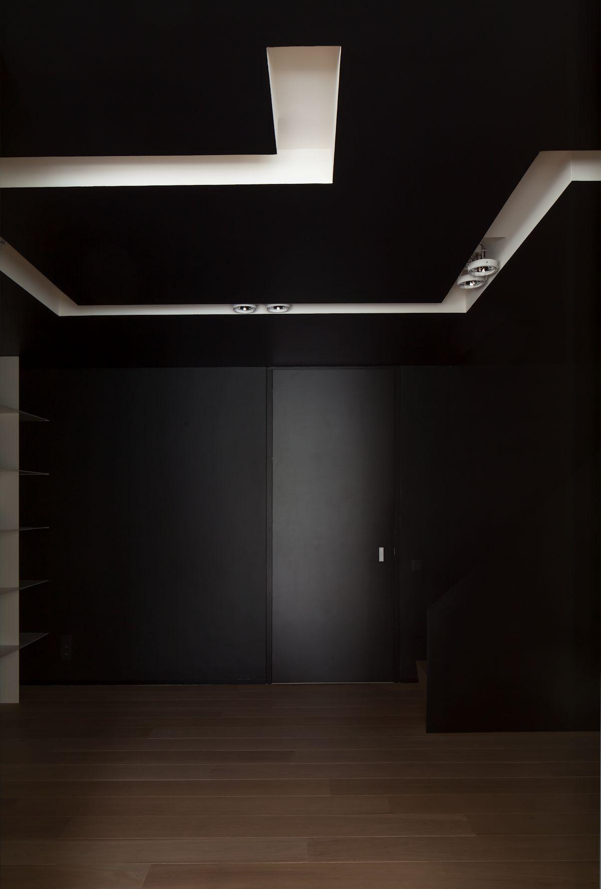 Dark Ceiling, Walls, Contemporary Renovation Brussels Belgium