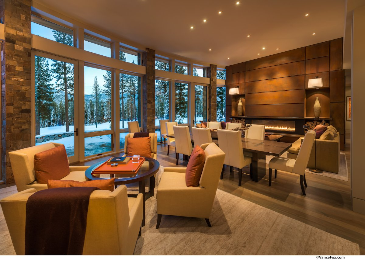 Dining, Living Space, Contemporary Fireplace, Home near Lake Tahoe, California