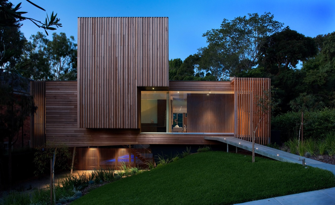Dusk, Lighting, Wood Cladding, Kew House in Melbourne