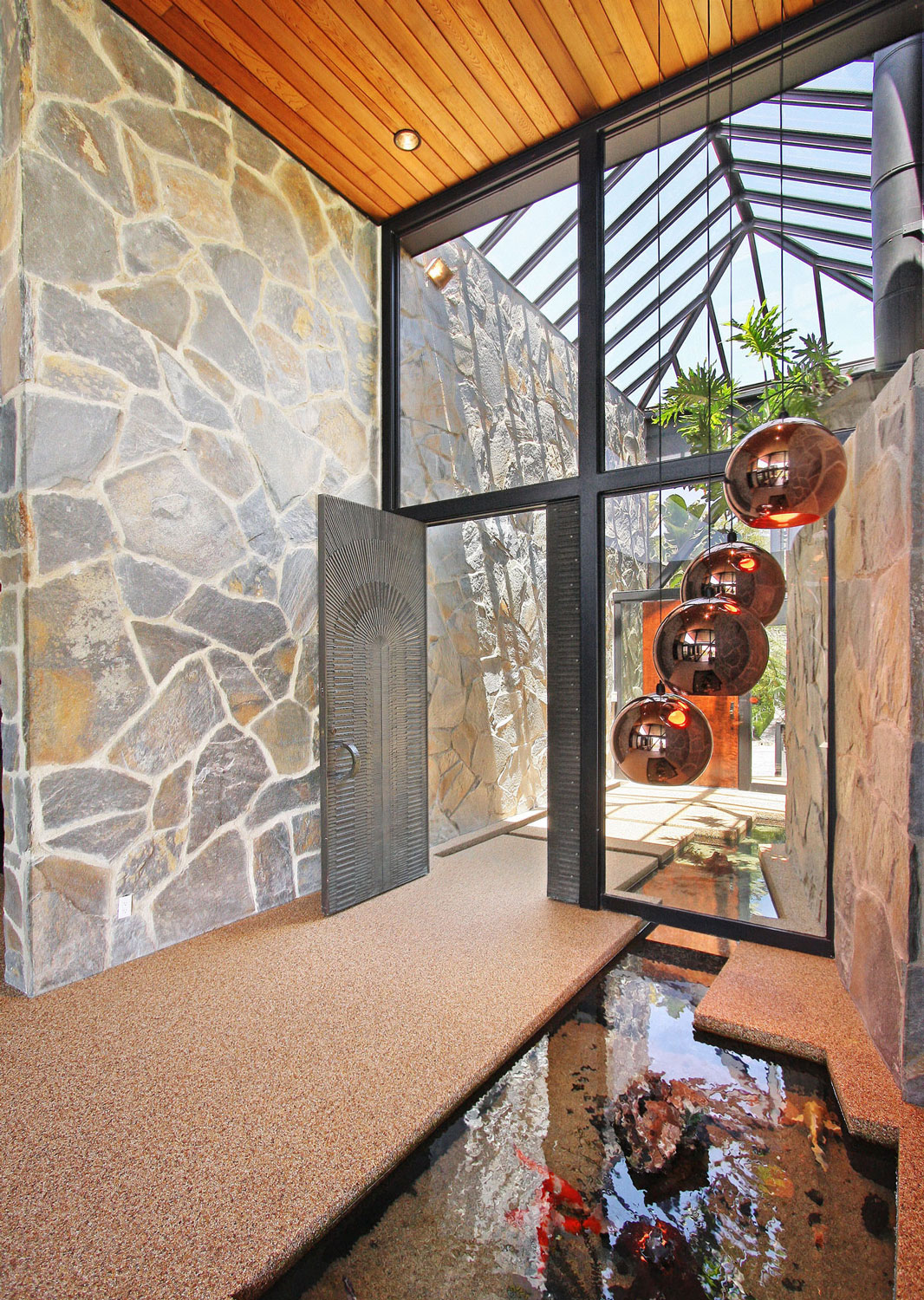 Entrance, Water Feature, Pendant Lighting, Revamped Interior in Beverly Hills