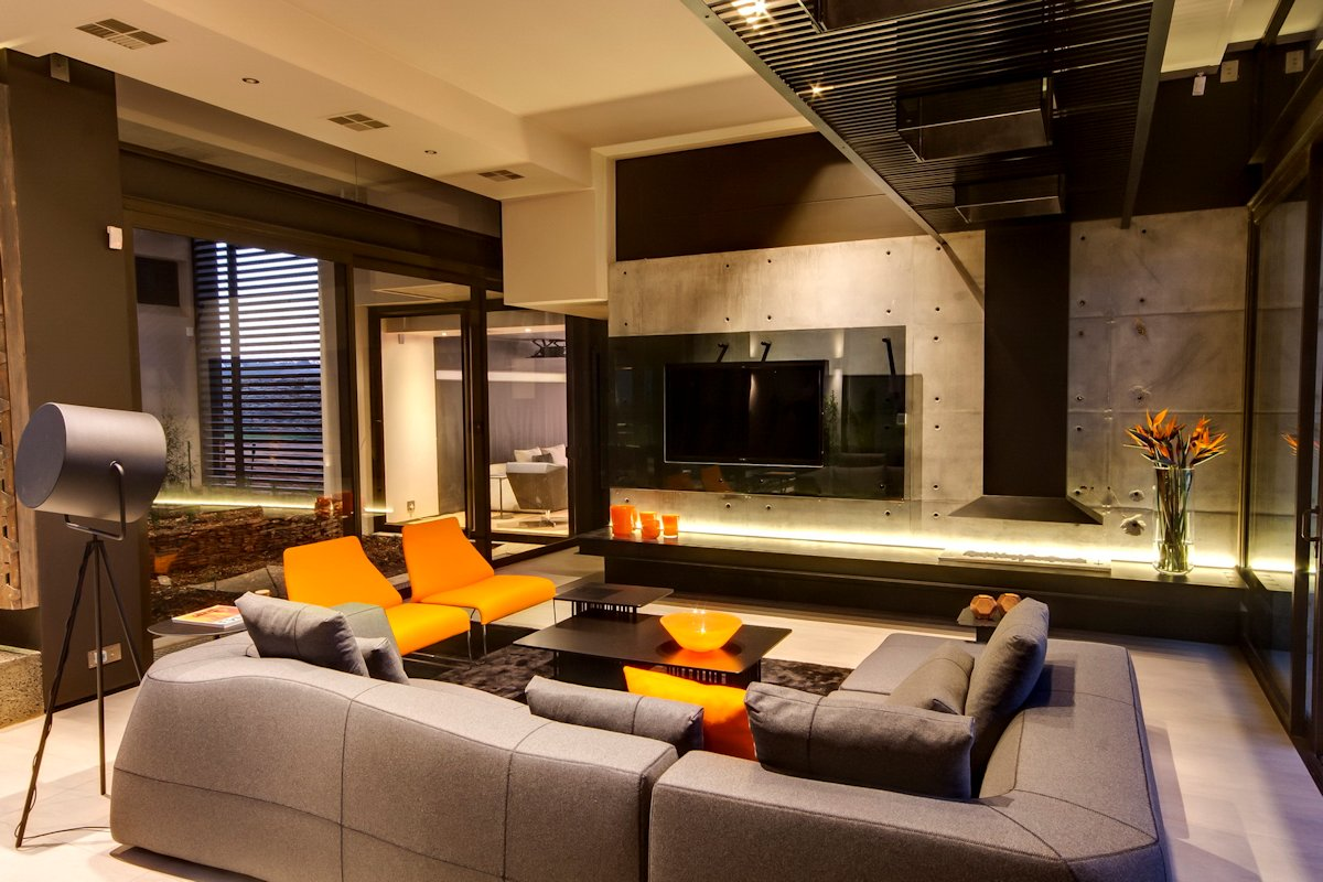 Exposed Concrete Wall, Living Room, Sofa, Lighting, Luxurious Modern Residence in Pretoria, South Africa