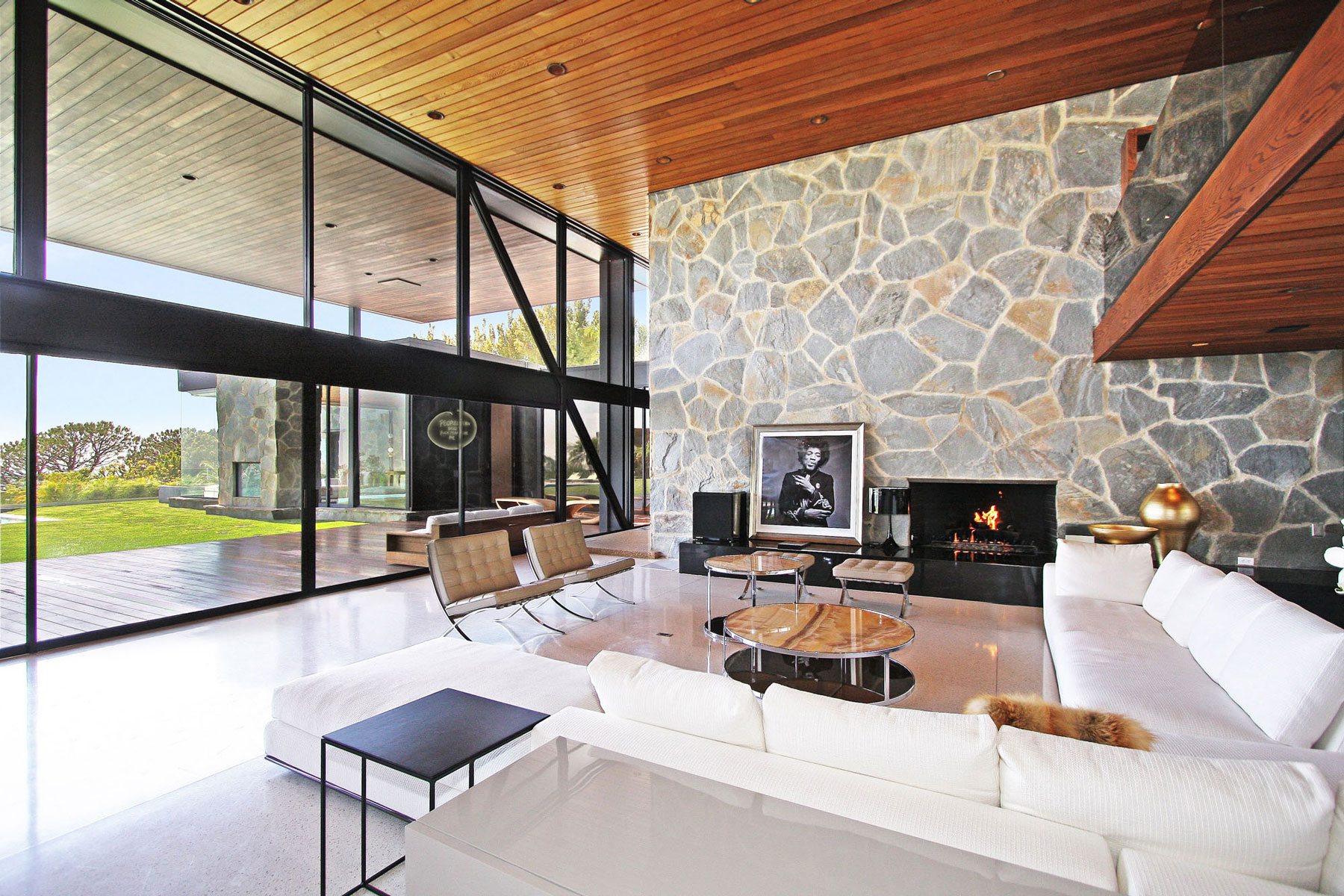 Floor-to-Ceiling Windows, Contemporary Fireplace, Coffee Table, Revamped Interior in Beverly Hills