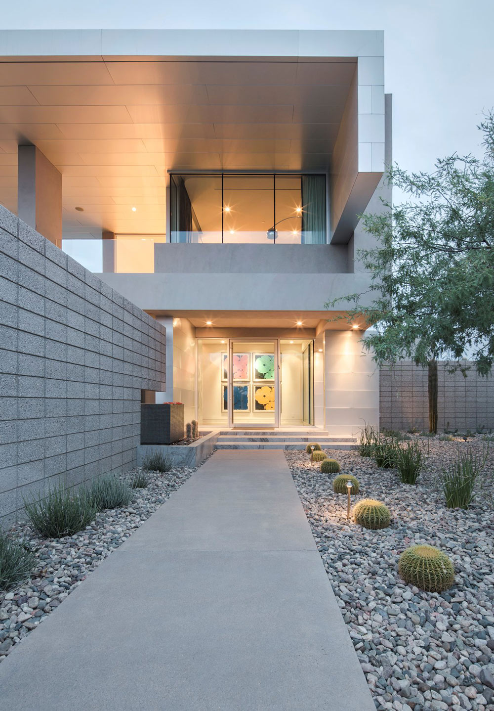 Front Garden, Glass Front Door, Mid-Century Modern Home in Scottsdale, Arizona