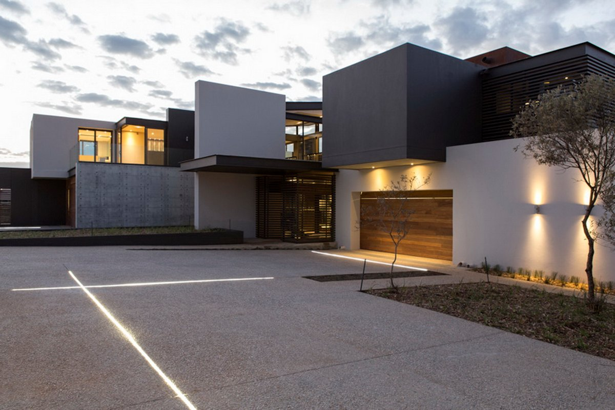 Garage, Lighting, Luxurious Modern Residence in Pretoria, South Africa