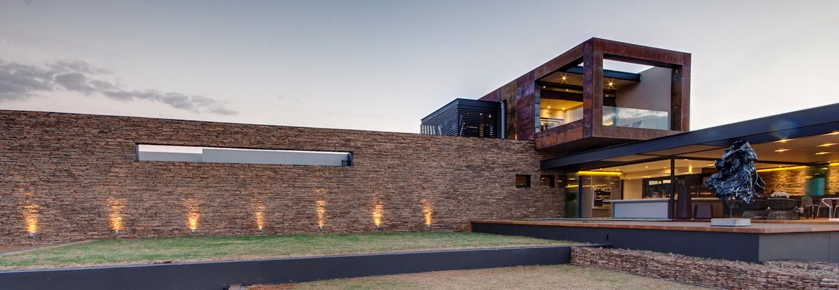 Garden, Stone Wall, Lighting, Luxurious Modern Residence in Pretoria, South Africa