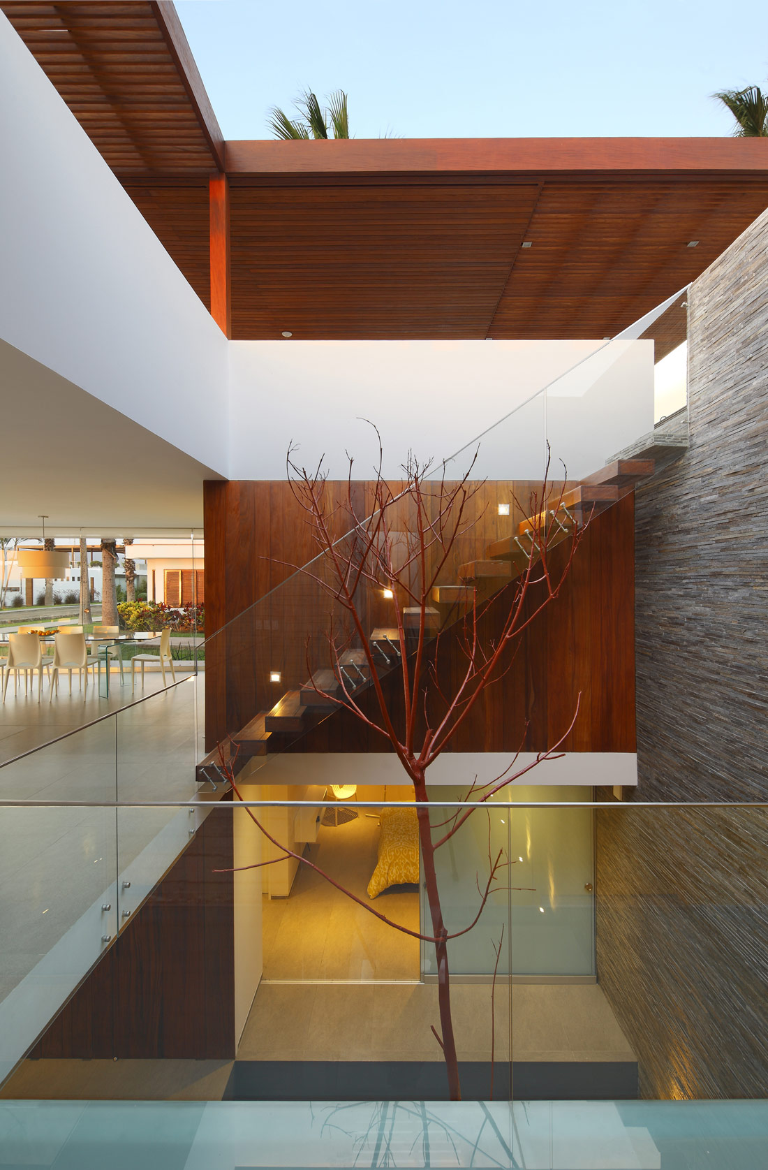 Glass Balustrading, Stairs, Stone Wall, Luxury Modern Home in Lima, Peru