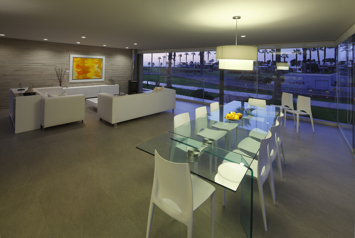 Glass Dining Table, Open Plan Living, Luxury Modern Home in Lima, Peru