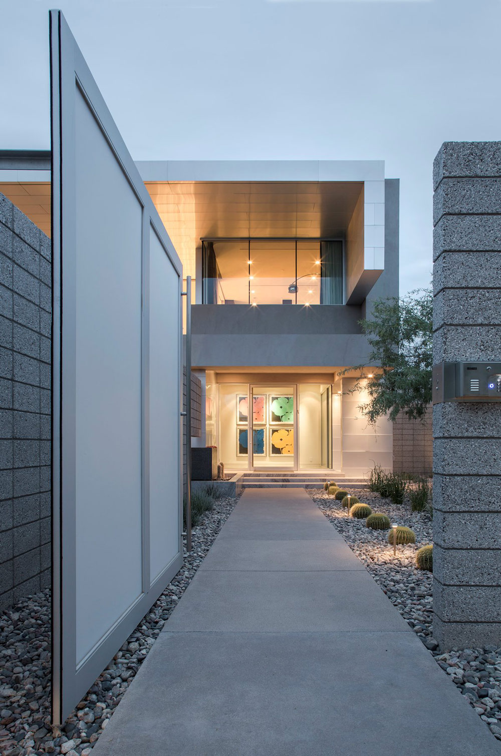 Glass Entrance, Pathway, Mid-Century Modern Home in Scottsdale, Arizona