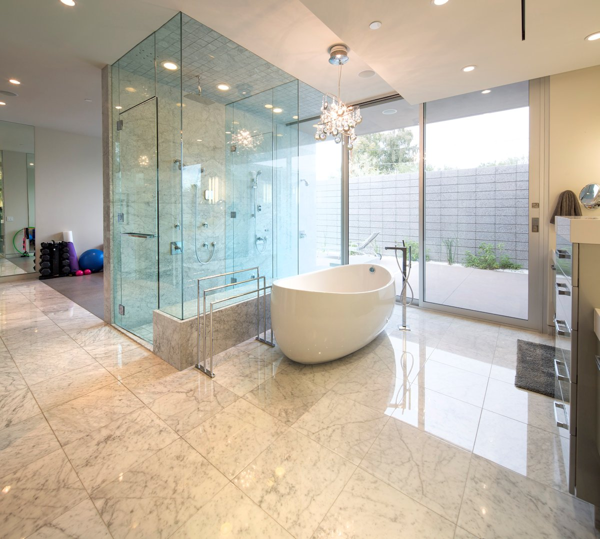 Glass Shower, Modern Bathroom, Mid-Century Modern Home in Scottsdale, Arizona